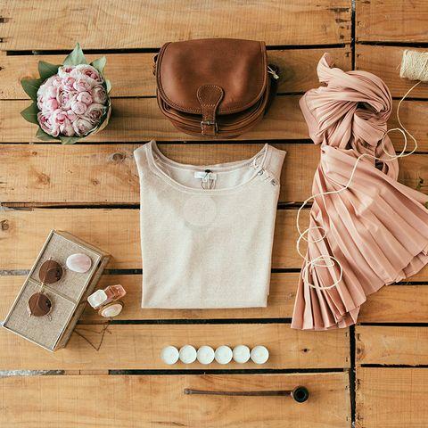 Collar, Tan, Beige, Peach, Still life photography, Day dress, Button, Apron, One-piece garment, Rose,
