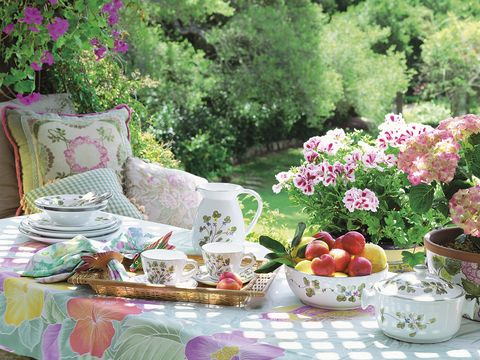 Pink, Tea party, Picnic, Still life, Tablecloth, Table, Spring, Tableware, Flower, Plant,