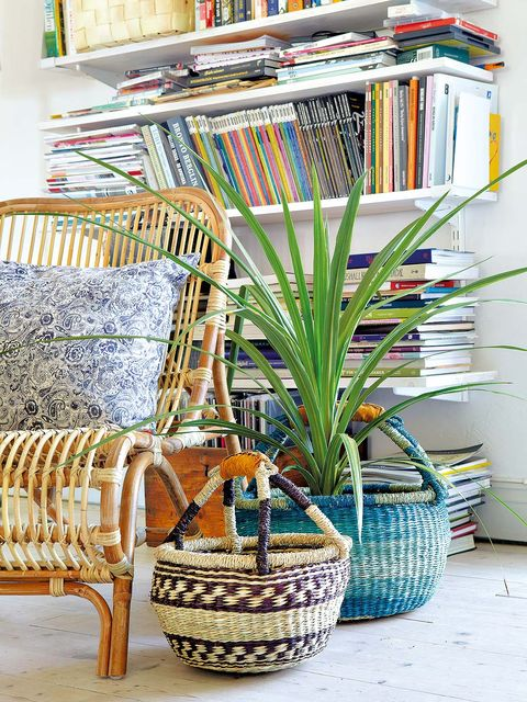 Interior design, Publication, Basket, Wicker, Creative arts, Interior design, Book, Flowerpot, Vase, Shelving,