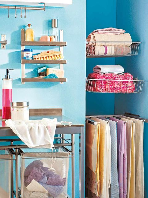 Blue, Room, Teal, Shelving, Turquoise, Aqua, Clothes hanger, Shelf, Peach, Dishware,