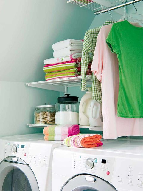 Washing machine, Clothes dryer, Major appliance, Room, Pink, Dishware, Laundry room, Home appliance, Clothes hanger, Shelving,