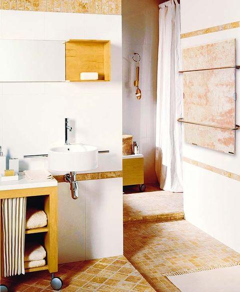 Room, Interior design, Property, Plumbing fixture, Floor, Wall, Flooring, Bathroom sink, Tap, Sink,