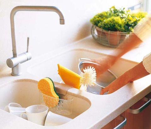 Sink, Kitchen, Countertop, Bathroom, Room, Shelf, Bathroom accessory, Furniture, Dish rack, Plumbing fixture,