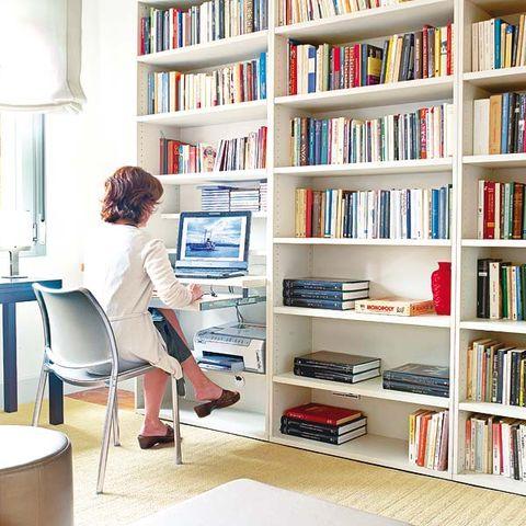 Bookcase, Shelving, Shelf, Furniture, Building, Room, Book, Desk, Interior design, Computer desk,