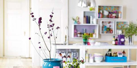 Interior design, Room, Table, Furniture, Interior design, Purple, Shelf, Lavender, Shelving, Home,