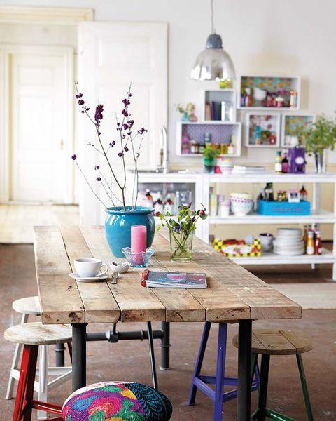 Interior design, Table, Room, Furniture, Interior design, Teal, Purple, Lavender, Turquoise, Twig,