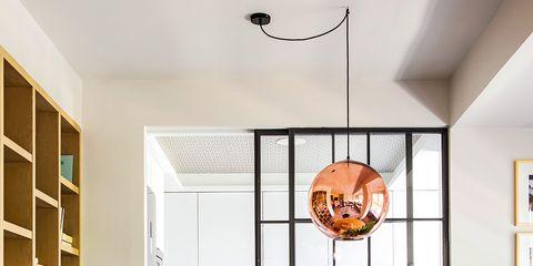 Room, Dining room, Interior design, Yellow, Furniture, Floor, Ceiling, Table, Orange, Property,