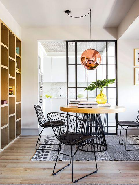 Room, Furniture, Dining room, Interior design, Floor, Ceiling, Yellow, Table, Property, Orange,