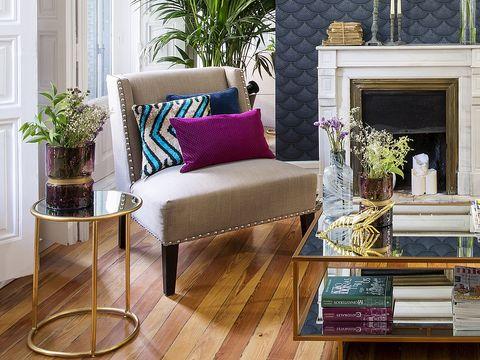 Furniture, Purple, Interior design, Room, Living room, Floor, Coffee table, Table, Violet, Home,