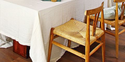 Tablecloth, Furniture, Table, Room, Dining room, Textile, Kitchen & dining room table, Home accessories, Linens, Chair,