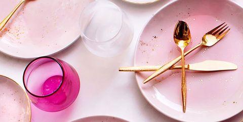 Pink, Plate, Dishware, Tableware, Cutlery, Food, Spoon, Serveware,