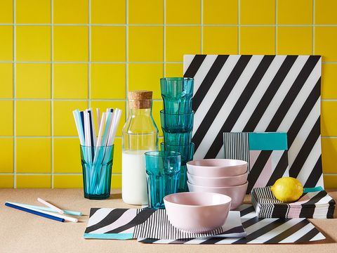 Turquoise, Yellow, Room, Design, Table, Pattern, Wallpaper, Furniture, Cup, Turquoise,