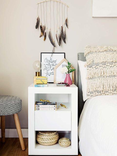 Room, Interior design, Wall, Linens, Grey, Light fixture, Interior design, Bed, Home accessories, Beige,