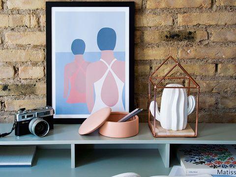 Wall, Shelf, Room, Furniture, Wallpaper, Interior design, Window, Table, Shoe, Still life photography,