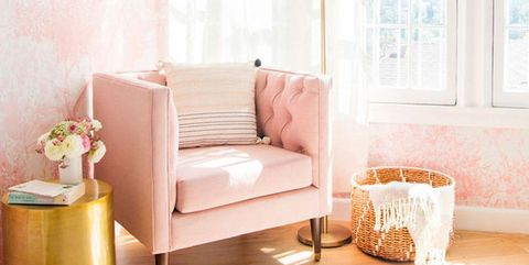 Furniture, Room, Pink, Couch, Interior design, Living room, Product, Floor, Yellow, Peach,