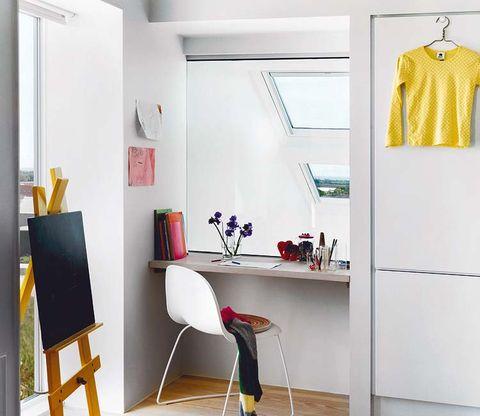 Room, Interior design, Wall, Clothes hanger, Ceiling, Easel, Grey, Paint, Interior design, Design,