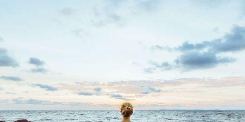 Physical fitness, Yoga, Sitting, Sea, Sky, Meditation, Ocean, Water, Coast, Calm,