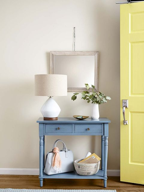 Shelf, White, Furniture, Room, Yellow, Wall, Interior design, Shelving, Table, Chest of drawers,