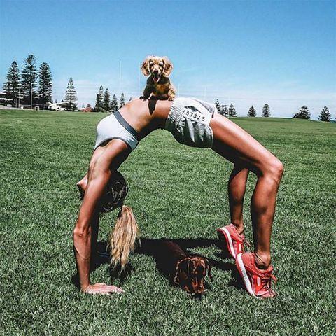 Grass, Muscle, Leg, Human leg, Thigh, Flip (acrobatic), Blond, Joint, Stretching, Sports training,