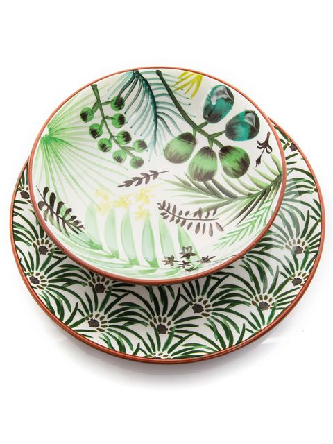 Green, Dishware, Plate, Platter, Leaf, Tableware, Serveware, Feather, Saucer, Porcelain,