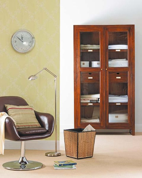 Wood, Brown, Room, Hardwood, Furniture, Wood stain, Cupboard, Wall, Cabinetry, Wall clock,