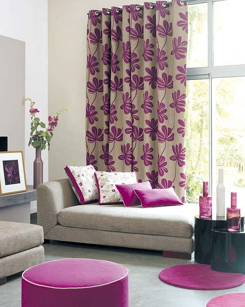 Interior design, Room, Green, Purple, Wall, Textile, Living room, Pink, Magenta, Furniture,
