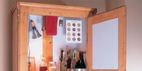 Shelving, Bottle, Wood stain, Cupboard, Shelf, Plywood, Glass bottle, Cabinetry, Peach, Collection,