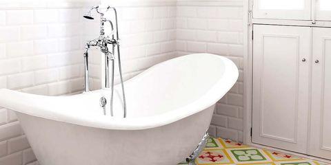 Plumbing fixture, Product, Fluid, Floor, Flooring, Property, Tile, Room, Wall, Bathtub,