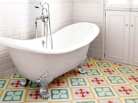 Plumbing fixture, Product, Fluid, Floor, Flooring, Property, Tile, Room, Wall, Bathtub,