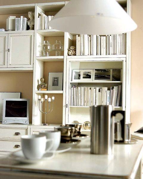 Serveware, Dishware, White, Room, Shelving, Shelf, Interior design, Tableware, Display device, Drinkware,