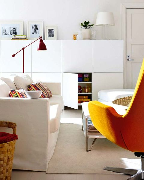 Room, Interior design, Wall, Floor, Furniture, Orange, Office chair, Shelving, Flooring, Home,