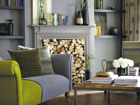 Room, Interior design, Green, Wall, Furniture, Home, Shelf, Shelving, Living room, Couch,