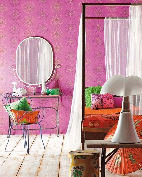 Product, Green, Room, Interior design, Textile, Purple, Wall, Pink, Furniture, Lamp,
