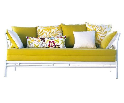 Brown, Yellow, Green, Furniture, White, Couch, Pillow, Rectangle, Living room, Black,