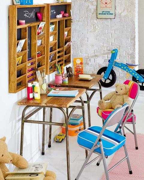 Room, Furniture, Folding chair, Shelving, Toy, Stool, Teddy bear, Stuffed toy, Household supply, Shelf,