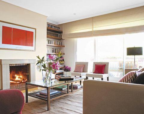 Room, Interior design, Hearth, Floor, Living room, Wall, Flooring, Table, Furniture, Home,