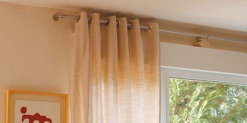 Room, Interior design, Interior design, Window treatment, Orange, Window covering, Lamp, Fixture, Peach, Home,
