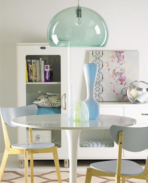 Yellow, Room, Furniture, Interior design, Teal, Turquoise, Aqua, Wall, Chair, Shelving,