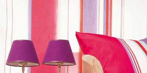 Interior design, Textile, Red, Lampshade, Magenta, Pink, Lamp, Purple, Lighting accessory, Maroon,