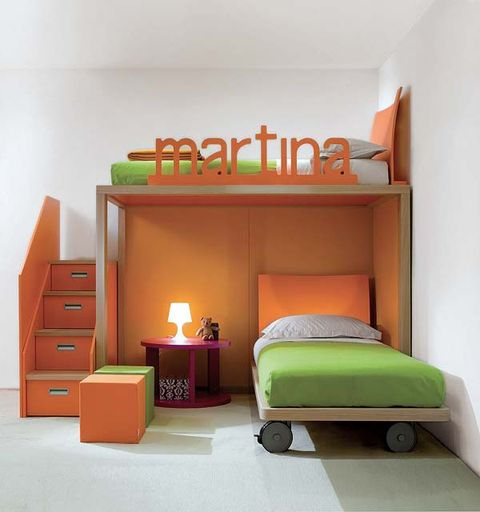 Wood, Room, Interior design, Floor, Wall, Bed, Orange, Bedroom, Flooring, Bedding,