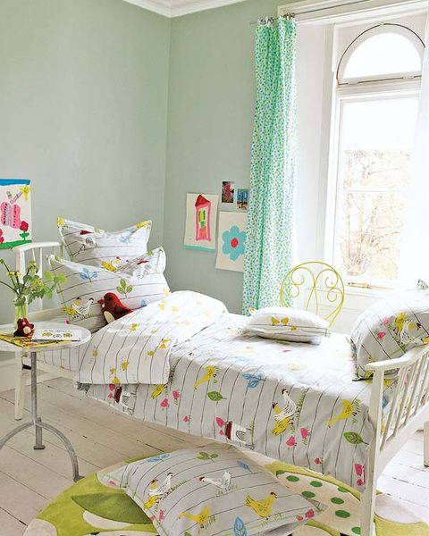 Room, Green, Yellow, Interior design, Textile, Bedding, Wall, Bed, Bedroom, Linens,