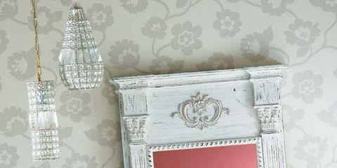 Room, Interior design, Wall, Pink, Floor, Interior design, Molding, Material property, Wallpaper, Plaster,