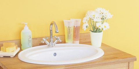 Room, Green, Yellow, Product, Bathroom sink, Plumbing fixture, Tap, Interior design, Flowerpot, Linens,