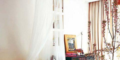 Interior design, Room, Bed, Textile, Bedding, Wall, Linens, Furniture, Bedroom, Purple,