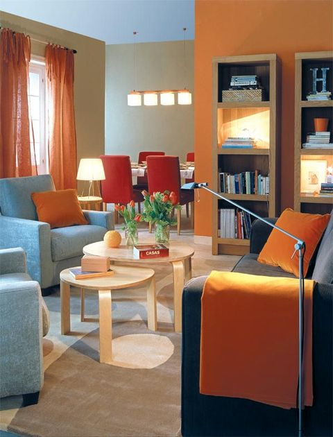 Interior design, Room, Floor, Table, Orange, Furniture, Flooring, Couch, Interior design, Living room,