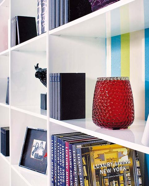 Blue, Interior design, Room, Shelving, Wall, Shelf, Collection, Teal, Publication, Design,