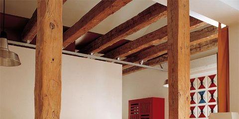 Wood, Floor, Room, Interior design, Hardwood, Ceiling, Flooring, Wall, Couch, Beam,
