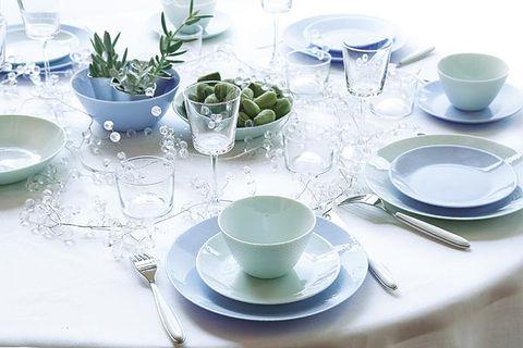 Serveware, Blue, Green, Dishware, Drinkware, Porcelain, Tableware, Ceramic, Linens, Glass,