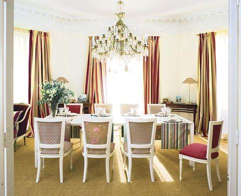 Interior design, Room, Textile, Furniture, Floor, Table, Interior design, Window treatment, Flooring, Light fixture,