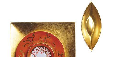 Serveware, Dishware, Amber, Tableware, Kitchen utensil, Metal, Circle, Brass, Teacup, Porcelain,